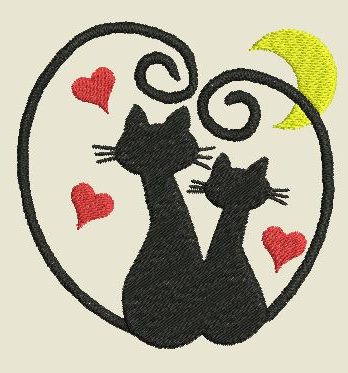 Broderie Chat st-Valentin
