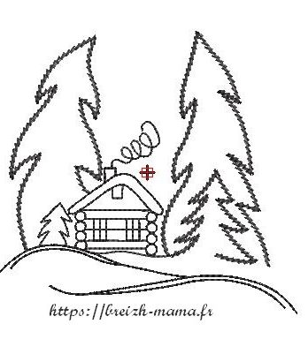 Motif broderie paysage hivernal